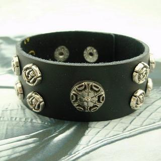 Genuine Leather Studded Bangle