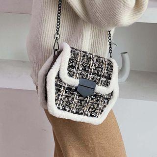 Furry Trim Tweed Hexagon Crossbody Bag