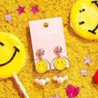 Smiley Faux Pearl Drop Earrings