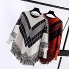 Printed Fringed Cape Sweater