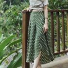 Dotted Chiffon Midi A-line Skirt