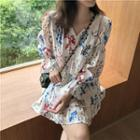 V-neck Printed Long-sleeve Dress As Shown In Figure - One Size