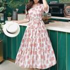 Elbow-sleeve Floral Chiffon A-line Midi Dress Nude Pink - One Size