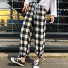 Plaid Crop Pants As Shown In Figure - One Size