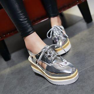 Cutout Lace-up Platform Shoes