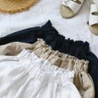 Fringed Linen Blend Cropped Wide-leg Pants