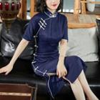 Contrast Trim Short-sleeve Qipao