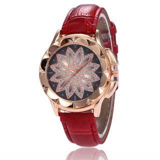 Rhinestone Flower Strap Watch