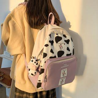 Cow Print Panel Backpack