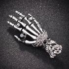 Skull Hand Brooch Silver - One Size