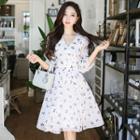 Lace Trim Patterned A-line Dress