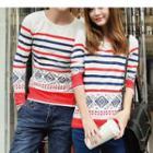 Couple Matching Patterned Long-sleeve T-shirt