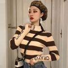 Striped Lettering Mock-neck Knit Top