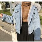 Furry Trim Hooded Denim Jacket