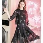 Elbow-sleeve Floral Chiffon Mock Two-piece Dress