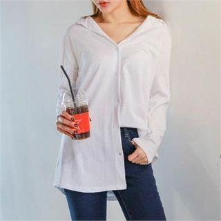 Button-front Plain Shirt
