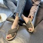 Patterned Woven Strap Slide Sandals