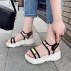Platform Wedge Iridescent Adhesive Strap Sandals
