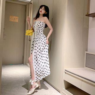 Off-shoulder Smocked Single-breasted Midi Dress