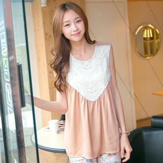Sleeveless Lace-panel Top