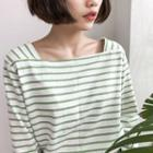 Striped Long-sleeve Square Neck T-shirt