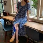 Ruched Short-sleeve Slit Floral Print Slit Dress