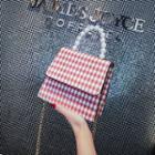 Faux Pearl Handle Plaid Crossbody Bag