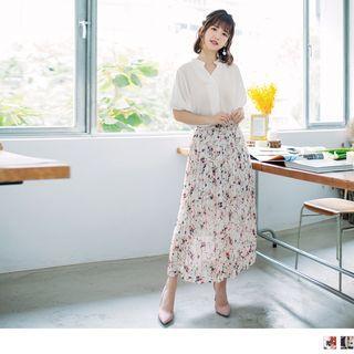 Floral Pleated Chiffon Maxi Skirt
