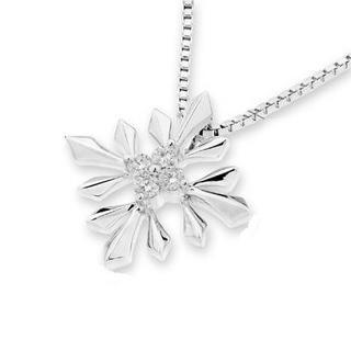 18k White Gold Snowflakes Round Diamond Pendant (1/20 Cttw) (free 925 Silver Box Chain)