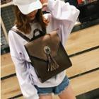 Faux Leather Tassel Flap Backpack