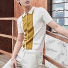 Short-sleeve Knit Panel Shirt