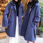 Plain Button Coat/ Long Coat