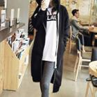 Plain Hooded Long Zip Jacket
