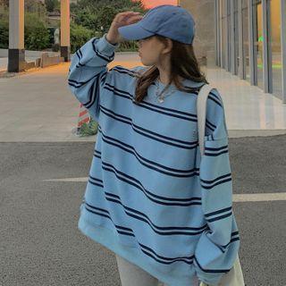 Striped Sweatshirt Stripes - Black & Blue - One Size
