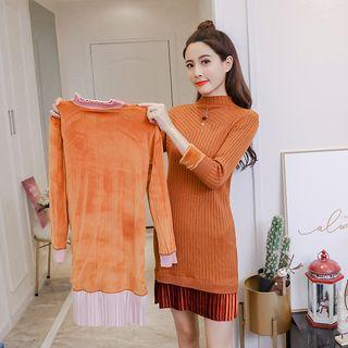 Panel Long-sleeve Sheath Knit Dress