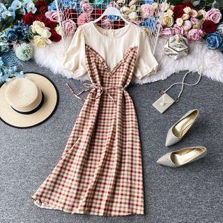 Round-neck Gingham Inset Short-sleeve Dress