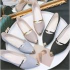 Pointed Faux-pearl Detail Flats