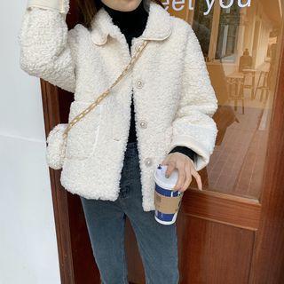 Fleece Button Jacket Jacket - Almond - One Size
