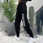 Cropped Lettering Jogger Pants