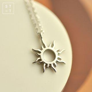 925 Sterling Silver Sun Pendant Necklace Silver - One Size