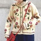 Floral Embroidered Cardigan Dark Beige - One Size