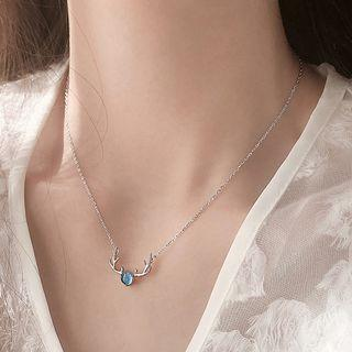925 Sterling Silver Faux Crystal Deer Pendant Necklace 925 Silver - As Shown In Figure - One Size