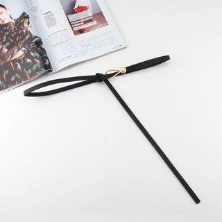 Faux Leather Knot Slim Belt Black - One Size