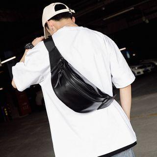 Plain Faux Leather Belt Bag Black - One Size