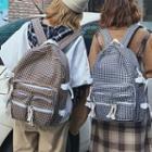 Plaid Tassel Canvas Backpack