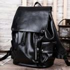 Drawstring Faux-leather Backpack Black - One Size