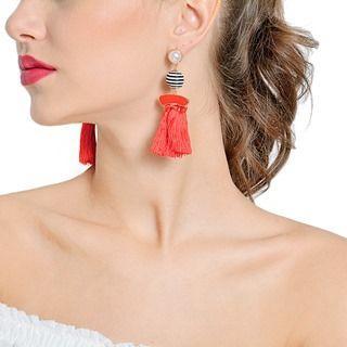 Buttoned Tasseled Beaded Earrings