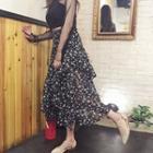 Asymmetric Hem Floral Print Chiffon Midi Skirt