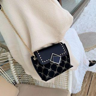 Bow Embroidered Studded Crossbody Bag