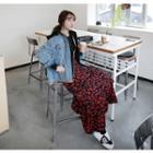 Ruffled Floral-pattern Maxi Skirt